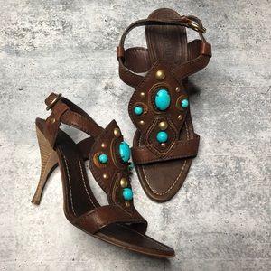 Miu Miu Brown Turquoise Stone Heels